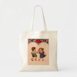 Vintage Valentine Girl And Boy Dancing Tote Bag