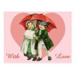 Vintage Valentine Girl and Boy Postcard