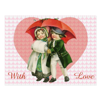 Vintage Valentine Girl and Boy Postcard