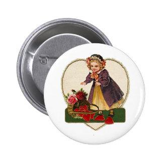 Vintage Valentine Girl Button