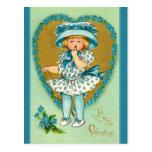 Vintage Valentine Girl Dressed in Blue Polka Dots Post Card