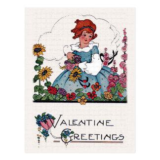 Vintage Valentine Girl in Flower Garden Card Postcard