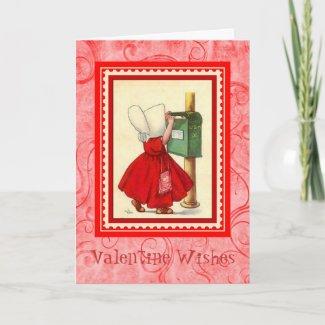 Vintage Valentine ~ Girl Mailing Her Valentine card