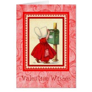 Vintage Valentine ~ Girl Mailing Her Valentine Greeting Card