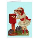 Vintage Valentine Girl Mails Card