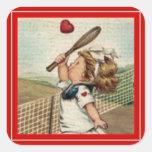 Vintage Valentine ~ Girl Playing Tennis Sticker