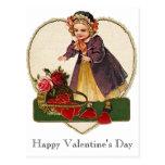 Vintage Valentine Girl Post Cards