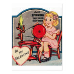 Vintage Valentine Girl Spinning Wool Post Cards