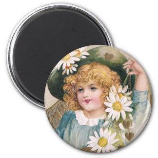Vintage Valentine Girl with Daisies 2 Inch Round Magnet