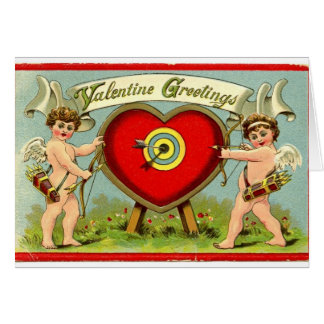 "Vintage"" Valentine Greetings""  Cupid and Arrow Greeting Card"