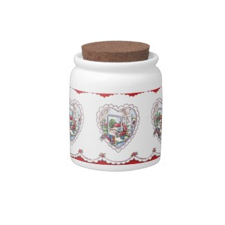 Vintage Valentine Heart Candy Jar
