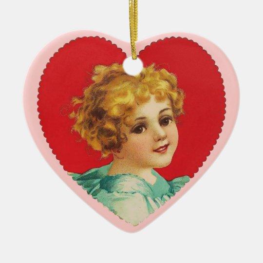 Vintage Valentine Heart Ceramic Ornament
