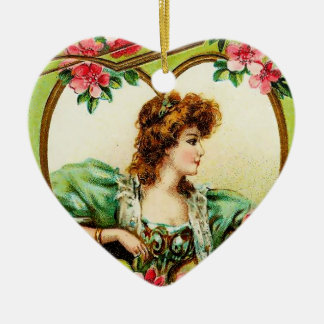 Vintage Valentine Heart Double-Sided Heart Ceramic Christmas Ornament