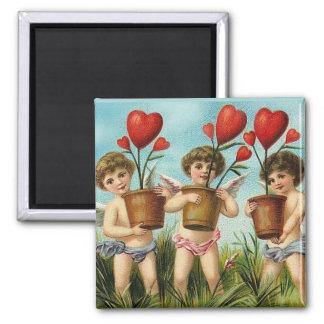 Vintage Valentine Heart Flowers 2 Inch Square Magnet