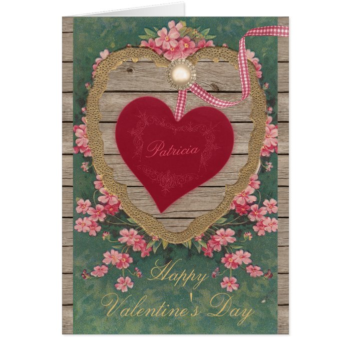 Vintage Valentine heart flowers CC0825 Scrapbook Greeting Card