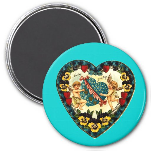 Vintage Valentine Heart Fridge Magnet