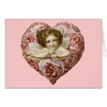 Vintage Valentine Heart of Roses & Cupid Cards