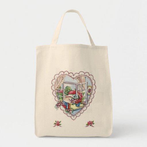 Vintage Valentine Heart Reusable Tote Bag