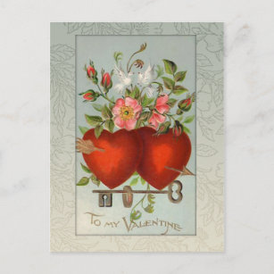 Vintage Valentine Hearts Holiday Postcard