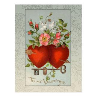 Vintage Valentine Hearts Postcard