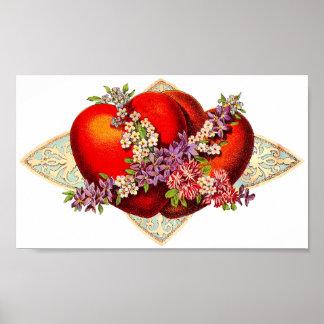 Vintage Valentine Hearts Poster