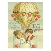 Vintage Valentine Hot Air Balloon Post Card