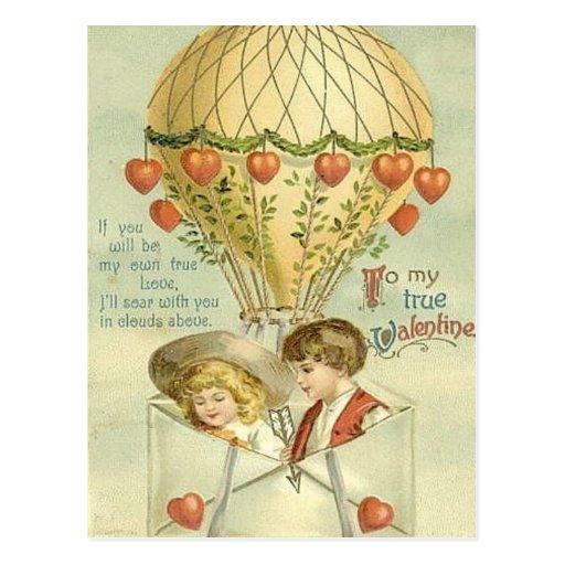 Vintage Valentine Hot Air Balloon Postcard