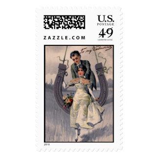 Vintage Valentine Illustration Postage Stamp