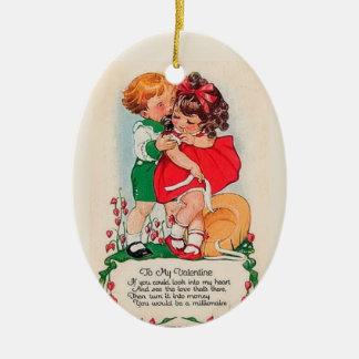 Vintage Valentine Kiss Ceramic Ornament