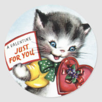 Vintage Valentine Kitten Stickers
