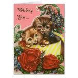 Vintage Valentine Kitties Greeting Card