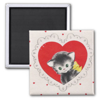 Vintage Valentine Kitty 2 Inch Square Magnet