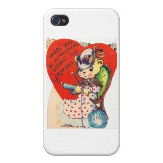 Vintage Valentine Knitting Bear iPhone 4 Cases