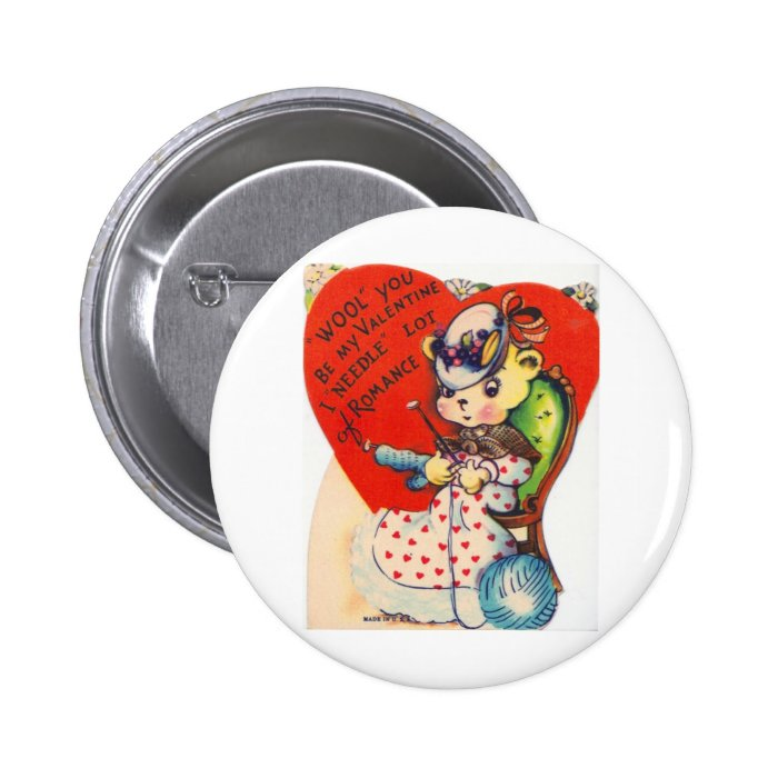 Vintage Valentine Knitting Bear Pinback Button