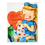 Vintage Valentine Knitting Postcard