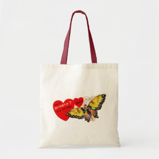 Vintage Valentine Lady Butterfly Hearts Tote Bag