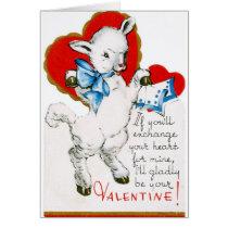 Vintage Valentine Lamb Card