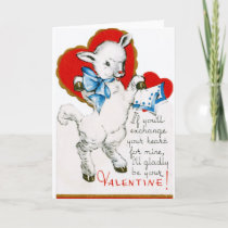 Vintage Valentine Lamb Holiday Card