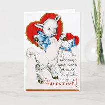Vintage Valentine Lamb Holiday Card
