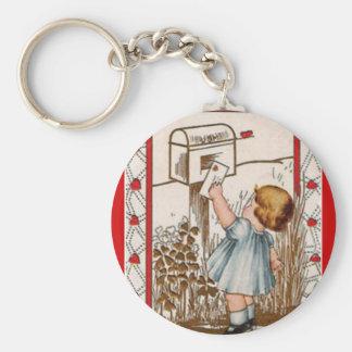 Vintage Valentine ~ Little Girl Mailing Valentine Keychain
