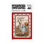 Vintage Valentine ~ Little Girl Mailing Valentine Stamps