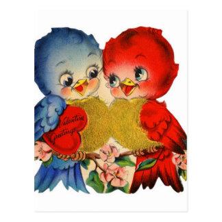 Vintage Valentine Love Birds Postcard