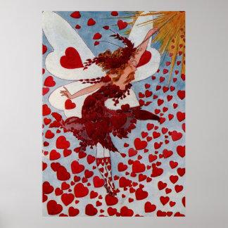 Vintage Valentine Love Hearts Fairy Poster