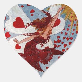 Vintage Valentine Love Hearts Fairy Heart Sticker