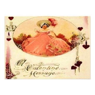 Vintage Valentine Message Pink Dress Custom Invite
