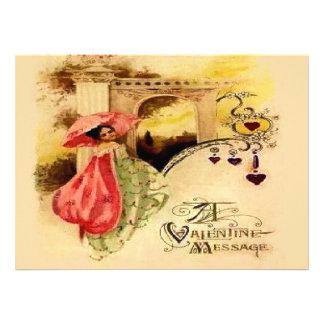 Vintage Valentine Message Pink Parasol Announcements