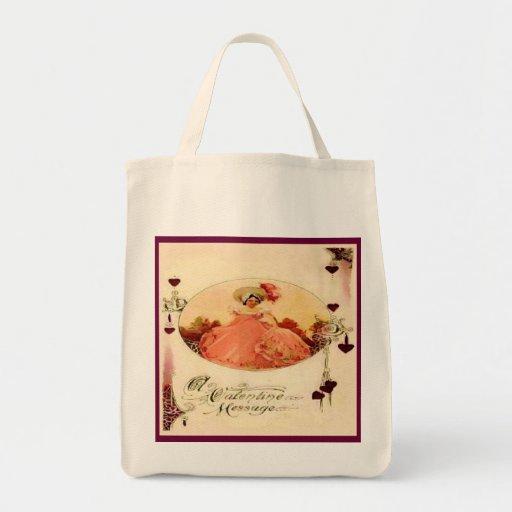 Vintage Valentine Message Reusable Tote Bags