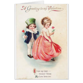"""Vintage Valentine """"My Love"""" cute boy and girl Greeting Card"""