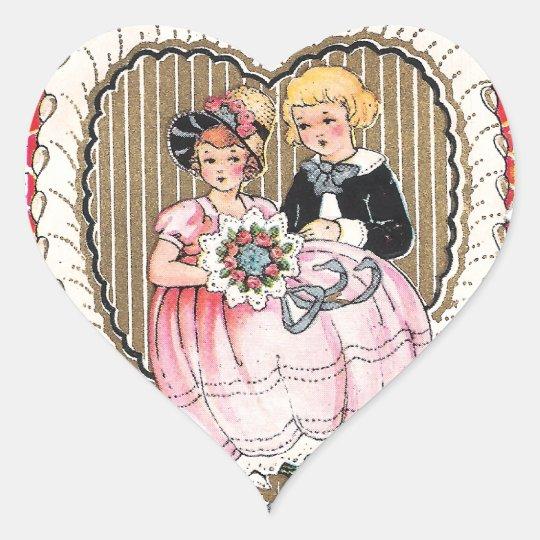 Vintage Valentine Picture Heart Sticker
