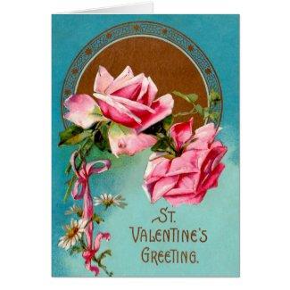 Vintage Valentine Pink Roses & White Daisies Greeting Card